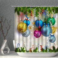 Shower Curtains Merry Christmas Curtain Colorful Xmas Balls Green Pine Branches Happy Year Decor Fabric Bathroom With Hooks