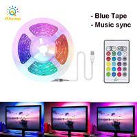 Светодиодная полоса огни музыки синхронизация 1 м 2 м 5 м гибкий 5050 RGB телевизор задняя подсветка USB Powered 5V неоновые ленты полосы света для домашнего декора
