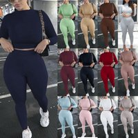Women's Sportswear Set Solid Color Tight Suit Turtleneck Long Sleeve Short Pullover Tops + Elastic Trousers Fitness Shapeware Tracksuits