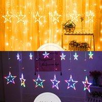 Bzoosio LED LIGHT STARS Navidad Colgante Cortina Luces String Net Navidad Party Party Decoración del hogar con 12pcs Big Star 138PCS LED F1 Y0720