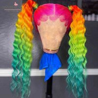 Tercih Edilen Derin Dalga Ön Peruk Brezilyalı Remy Şeffaf Dantel Gökkuşağı Renk Pembe Yeşil Ombre Hu Saç Peruk Kadınlar için