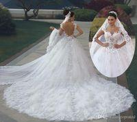 Luxury Princess Ball Gown Wedding Dresses vestido de noiva de renda 3D Floral Lace Applique Royal Train Bridal Gowns Arabic Backless
