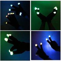 Gants clignotants de la décoration de fête GLOW 7 MODE LED RAVE RAVE LIGHT UP FINGER Eclairage MITIP Une paire Black drôle