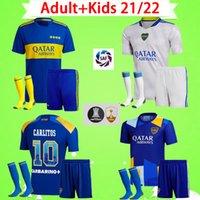 Erwachsene + Kids Kit mit Socken 2021 2022 Boca Juniors Fussball Trikots Jungen Sets Zarate Abila Football Hemd Cardona Herren Anzug Pavon Villa 21 22 Kind Uniform Zuhause weg Dritter