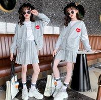 Preppy 스타일 아이 의류 세트 소녀 사랑 하트 편지 자수 스트라이프 긴 소매 스웨터 카디건 + 니트 주름 치마 2pcs 어린이