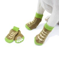 Dog Apparel 4pcs Set Cute Puppy Knit Fake Shoelace Socks Small Dogs Cotton Anti-Slip Cat Shoes Autumn Winter Indoor Wear Protector #