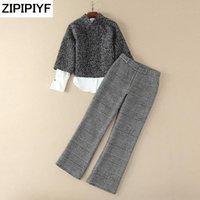يناسب المرأة الحلل zipipiyf 2021 الربيع أوروبا السراويل واسعة السراويل طويلة الأكمام سترة وأبيض قميص النمط الغربي الإناث الأزياء ثلاثة ص