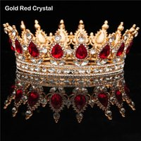 Vintage Kristal Kraliyet Kraliçe Kral Tiaras Büyük Mor Siyah Taçlar Erkekler / Kadın Pageant Balo Diadem Düğün Saç Takı Aksesuarları Klipler Barre