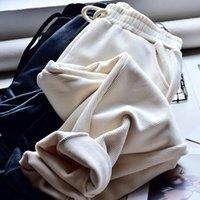 Women's Pants & Capris 2021 Winter Warm For Women Casual Elastic Waist Solid Corduroy Sweatpants Ankle Length Korean Style Trousers