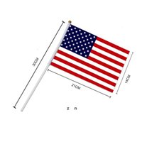 Mini America National Hand Flag 21 * 14 سم النجوم الأمريكية والأعلام المشارب للاحتفال بالمهرجان الإنتخابات العامة DHE6849