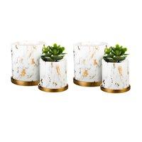 4pcs macetas de cerámica con orificio de drenaje y bandeja, patrón de mármol, no contienen plantas