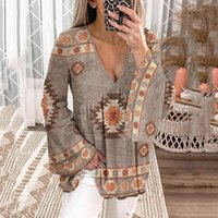 Women's T-Shirt Women Vintage Sweatshirt Long Sleeve V Neck Casual Loose Tops Shirts Daily Comfy High Quality Ropa Mujer #8