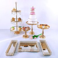 Other Bakeware Cake Stand Set Beautiful Tray 3 Tier Gold Cupcake Dessert Display Decoration Tools Wedding Acrylic Mirror
