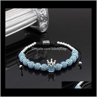 Beaded, Strands Bracelets Jewelry Fashion Men Micro Pave Cz Cubic Jewelry Charm Of The Crown And 8Mm Full Zircon Beads Braided Bracelet Femal