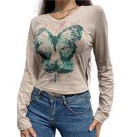 Women's T-Shirt Fairycore Grunge Printed Y2K Floral Long Sleeve Crop Top Aesthetic Harajuku T Shirts 90s Girls Retro Tee Tops Autumn Streetw