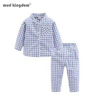 Mudkingdomdom 소년 소녀 긴 소매 파자마 세트 collared 격자 무늬 가을 귀여운 유아 잠옷 어린이 잠옷 어린이 옷 PJS 210910