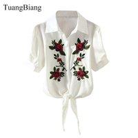 Blusas das mulheres camiseta Tuangbiang 2021 Meia manga Verão Bordado Bordado Camisa Mulheres Floral Corp Top Blusa Azul Branco Rosa Ameixa Laço Listrado