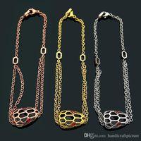 Bijoux de luxe Bijoux Femme Bracelet Marque Mode Creusée Tête de serpent tridimensionnel Tête de serpent rouge Bracelet Diamant Gold Plated Lady Bracel
