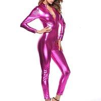 Сексуальные женщины zip uax кожаный боди длинный рукав блестящий комбинезон костюмы для костюмов для женщин для женщин костюмы тела фетиш кожаная одежда плюс размер 4xl