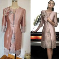 Vintage Carla Ruiz Knee Length Mother of the Bride Groom Plus Size Suits Long Jacket Appliques Lace Wedding Guest Dresses