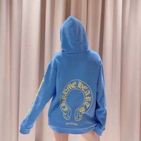 Ins Net Net Red Maré Mar Marca Cosin CH CH CH CH LIMITED Horseshoe Imprimir suéter azul e casaco solto