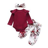 Baby Girls Remorques Romper + Pantalon de fleurs Ensemble Automne 2019 Enfants Boutique Vêtements Enfant Enfant Toddler Manches longues Onesie Pants 3 Outfits PC