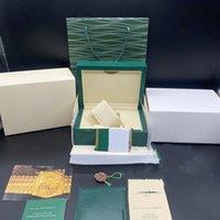 Caja de regalo de la caja de reloj Green Green de la mejor calidad para Rolex Box Watches Tarjeta de folleto Etiquetas y trabajos en inglés Relojes suizos Cajas Top Calidad