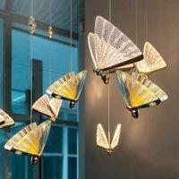 Butterfly Chandelier Bedside Lamp Master Bedroom LED Light Luxury Long Line Simple Dining Room Table Bar