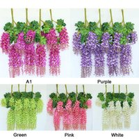 1pcs 110cm Artificial Wisteria Flower String Party Romantic Wedding Decoration Hanging Craft Fake Flowers Home Decorative & Wreaths