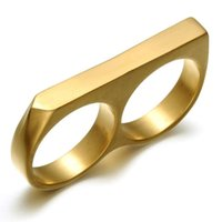 Band Rings Jewelrypersonality Simple Punk Stainless Steel Gold Plating Two Finger Hip Hop Jewelry Double Fingers Ring For Men Drop Delivery