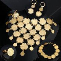 Neue Exquisite Braut Hochzeit Gold Farbe Muslimische Münze Halskette Ohrringe Ring Armband Set Nahost Arabische Schmuck Geschenk