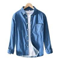 Erkek Rahat Gömlek Eiigssg Bahar Denim Gömlek 3 Renkler Uzun Kollu Pamuk Slim Fit Kovboy Erkek Brand Giysileri Tops