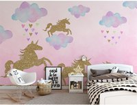 Gold Unicorn Pink Wall Stickers For Kids' Bedrooms Pink Unicorn Decals For Nursery Room Wallpaper
