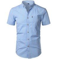 Küçük Erkek Polo Gömlek Erkekler Yaz Yeni Kısa Kollu Pamuk Erkek Elbise Gömlek Casual Düğme Aşağı Chemise Homme Camisa Masculina XXXL