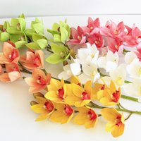 4P Искусственный латекс цимбидиум Орхидея цветы 10 головы реальные прикосновения хорошее качество фаленопсис орхидея для свадьбы декоративный цветок 2188 v2
