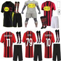 2021 AC Soccer Milan Balr. Jerseys 2022 Ibrahimovic Tonali Mandzukic Kessie Paqueta Bennacer Homens Kits Kits Futebol Camisas