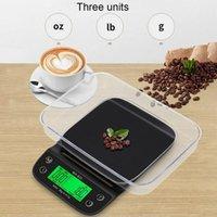 القهوة مقياس 3 كجم / 0.1 جرام مع الموقت المحمولة المطبخ الرقمية الإلكترونية عالية الدقة المقاييس LCD - أسود