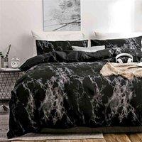 Oloey Yatak Seti Baskılı Mermer Yatak Setleri Beyaz Siyah Nevresim Avrupa Boyutu King Kraliçe Yorgan Yorgan 210727
