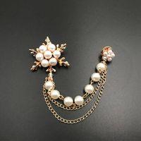 Korean Jewelry Fashion Pearl Ice Flower Fringe Brooch