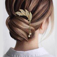 Зажимы для волос Barnettes Morkopela Китайский стиль U Faved Hrinestone Fallen Leaves Hairpin Stick Clip Pin Женский Банкетный ежедневный Crystal Accessor