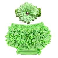 2 stücke Set Baby Slip Satin Ruffle Bloomers Stirnband Spitze Blume PP Höschen Tuch Elastisches Neugeborenes Infant Unterwäsche Multi Color16Cl G2