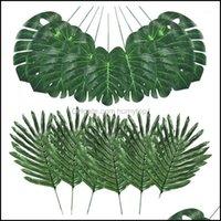 Dekoratif Çiçekler Çelenkler Şenlikli Malzemeleri Garden48 ADET 4 Çeşit Yapay Palmiye Yaprakları Monstera Yaprakları, Faux Kaynaklanıyor, DIY Ev Düğün P