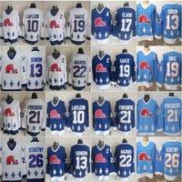 Quebec Nordiques 빈티지 19 조 Sakic 하키 유니폼 아기 블루 21 피터 Forsberg 26 피터 stastny 13 매트 Sundin 10 Guy Lafleur 스티치