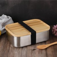 800ML Food Container Lunch Box with Bamboo Lid Stainless Steel Square Bento Box Wooden Top Kitchen Container Natural Easy for Take JJA236