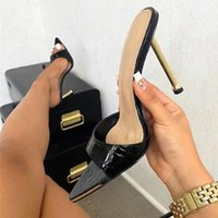 Dress Shoes Women Slippers Snake Print Strappy Mule High Heels 11CM Sandals Flip Flops Pointed Toe Slides Party Woman Size 42
