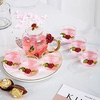 Красная роза эмаль кристалл стеклянный чай чайник чайник чашка набор цветок чай стеклянные чашки для горячих и холодных напитков домашний офис чайных программ