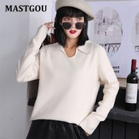 MASTGOU POLO Collar Womens Sweater Thick Warm Autumn Winter Sweates Elegant Soft Knitted Female Jumpers Top Pull Femme Clothing 210918