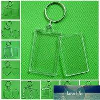 Fashion Acrylic Insert Photo Picture Frame Keyrings Rectangle Transparent Blank Frame Keychain DIY Split Ring Key Chain Gift