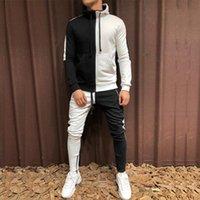 Mens Tracksuit Hoodie Set Two Pieces Autumn Winter Men's Sports Suit Half Black Half White Pant Sweatshirt Male Sweatsuit Outfit