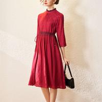 Kleid kohlen leer frühling elegante ohrkante stehkragen viertel sleeve kordelzug schnüre up taille swing rock